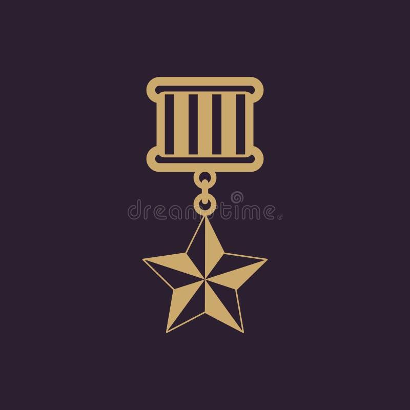 El icono de la medalla símbolo del honor plano libre illustration