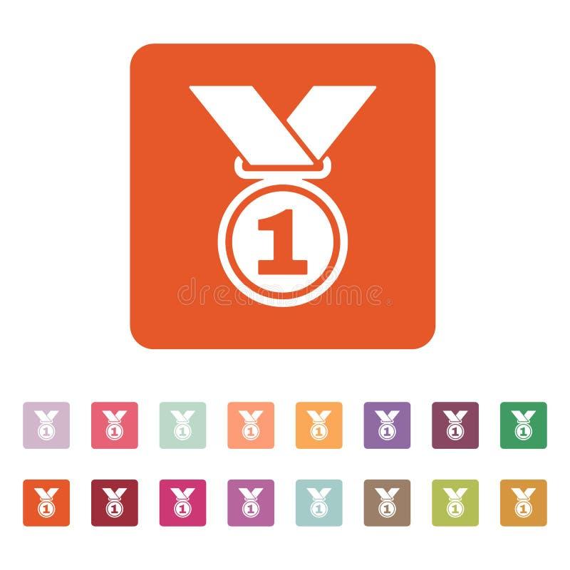 El icono de la medalla Símbolo premiado plano ilustración del vector