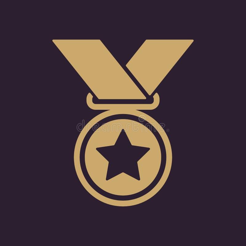 El icono de la medalla Símbolo premiado plano libre illustration