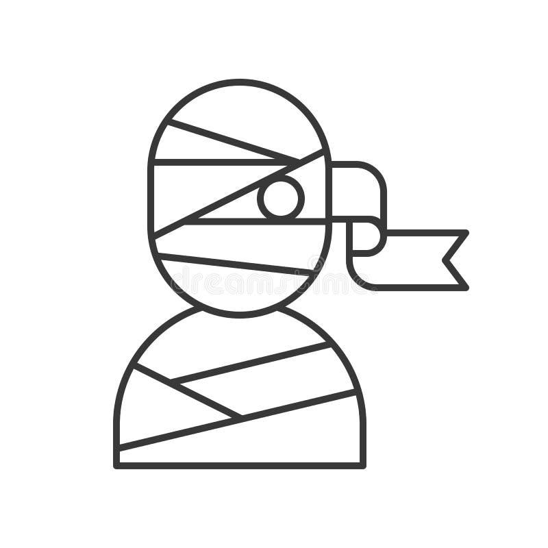 El icono de la momia, Halloween se relacionó, movimiento editable del diseño del esquema stock de ilustración