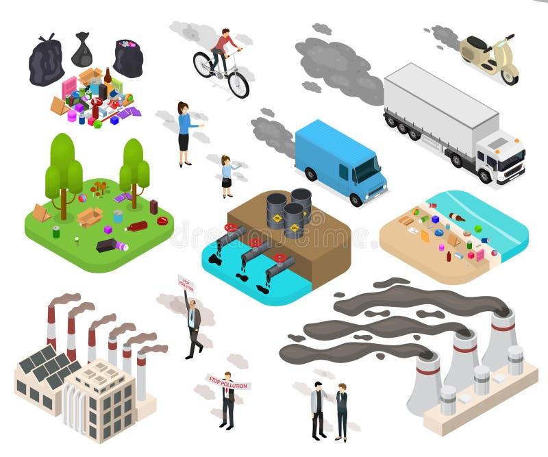 El icono de la muestra 3d de la contaminación de la ecología fijó la visión isométrica Vector stock de ilustración