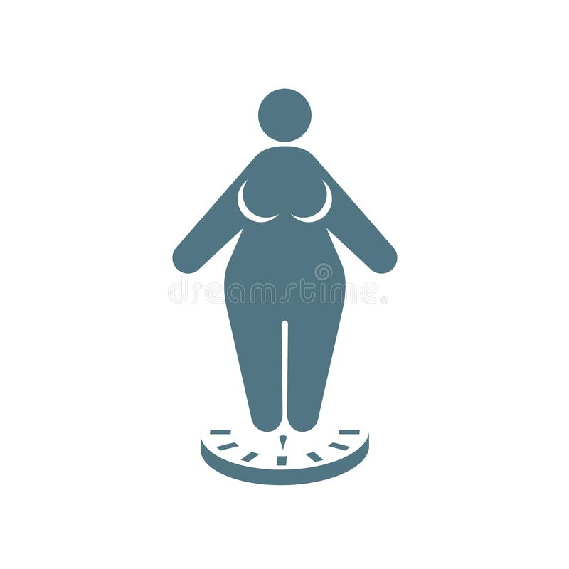 El icono de la mujer gorda que se coloca en escalas - obesidad y pierde el peso ilustración del vector