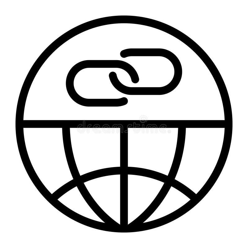 El icono de la notificación del tiempo de vínculo de la web, resume estilo negro stock de ilustración
