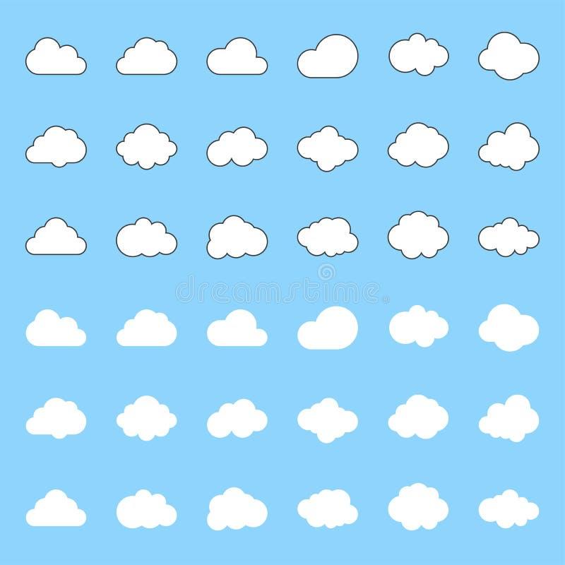 El icono de la nube, llenó y resume para dignarse movimiento editable libre illustration