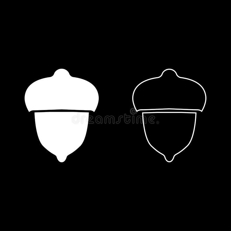 El icono de la nuez del bosque de la bellota fijó imagen simple de color del estilo plano blanco del ejemplo ilustración del vector