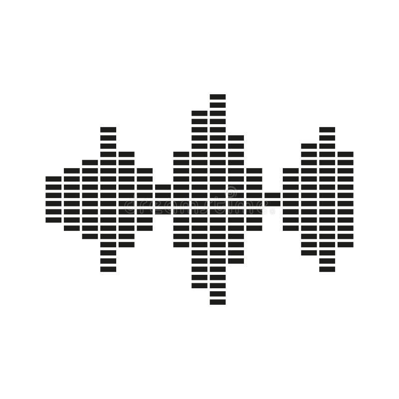 El icono de la onda acústica y del equalizador Audio, símbolo de radio plano libre illustration