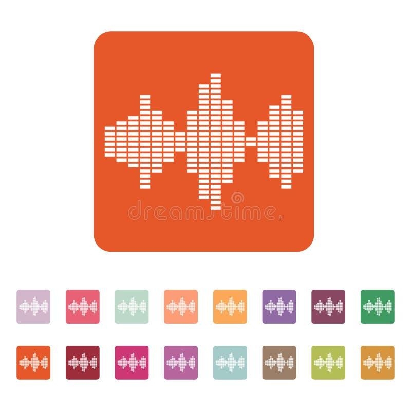 El icono de la onda acústica y del equalizador Audio, símbolo de radio plano stock de ilustración