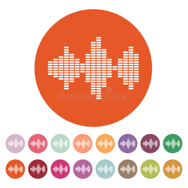 El icono de la onda acústica y del equalizador Audio, símbolo de radio plano ilustración del vector