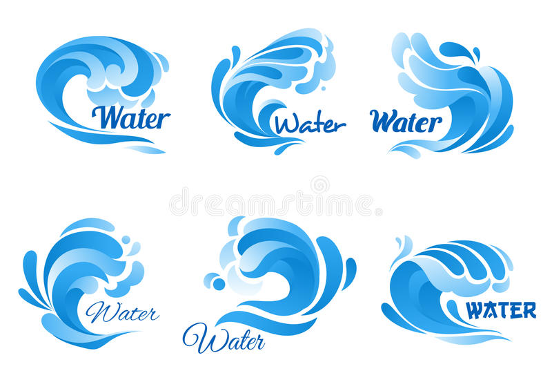 El icono de la onda de agua azul fijó para el infante de marina, diseño de la naturaleza libre illustration