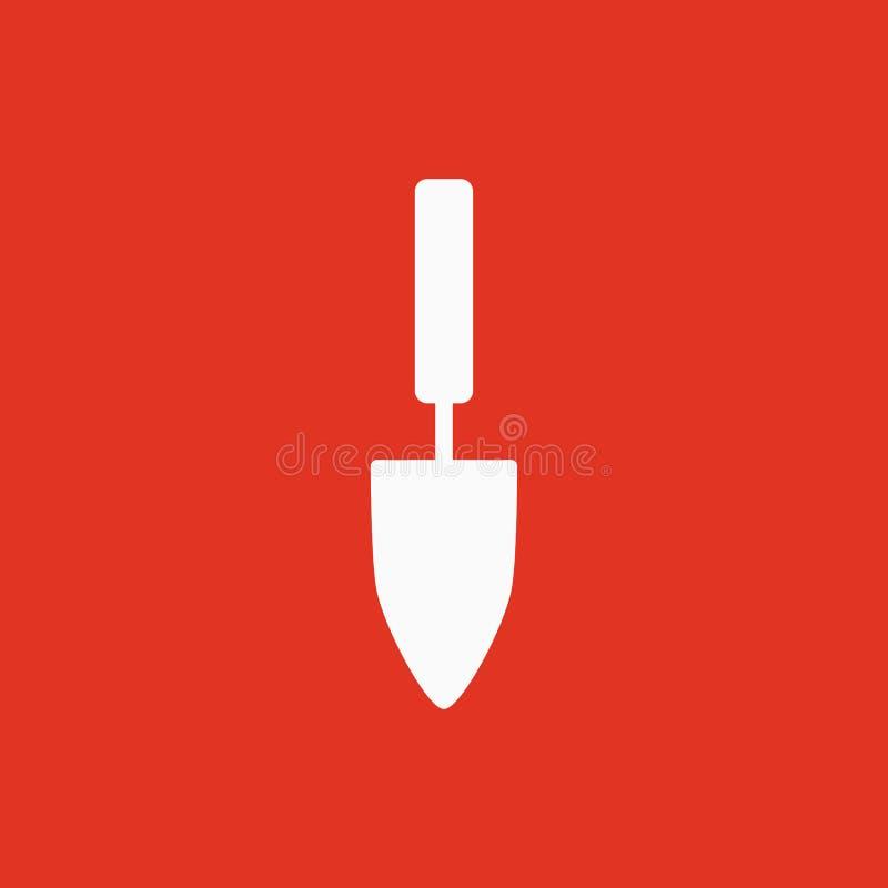 El icono de la pala Símbolo de la espada plano stock de ilustración