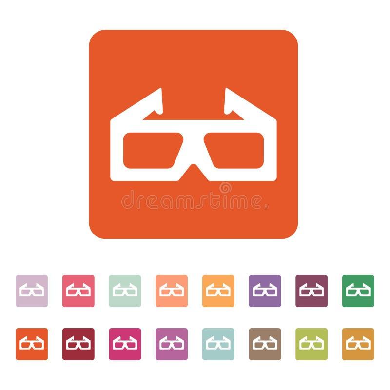 El icono de la película 3d símbolo de los vidrios 3D plano libre illustration