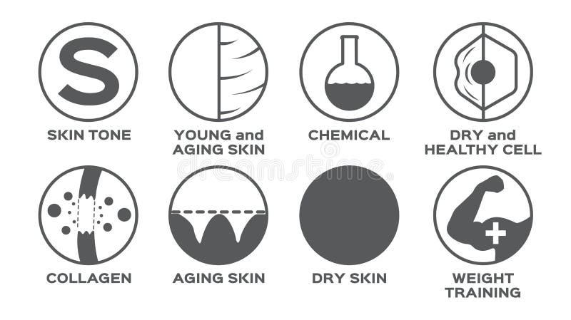 El icono de la piel fijó/el entrenamiento sano seco químico joven del peso de la célula del tono stock de ilustración