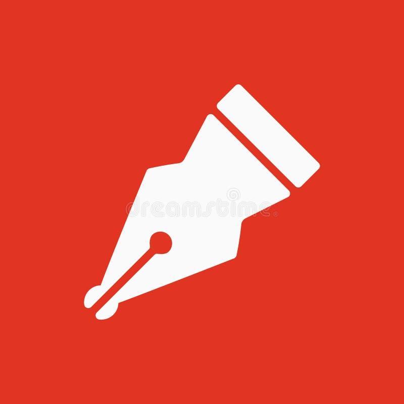 El icono de la pluma Símbolo de la pluma plano stock de ilustración