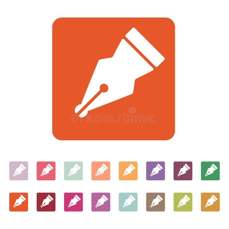 El icono de la pluma Símbolo de la pluma plano ilustración del vector