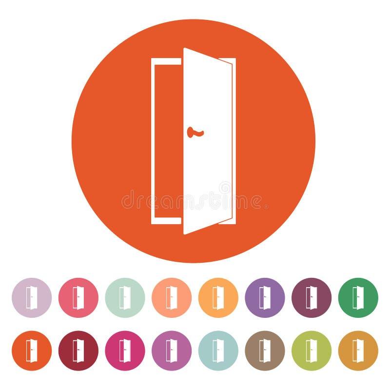 El icono de la puerta Salga y abra una sesión el símbolo plano stock de ilustración