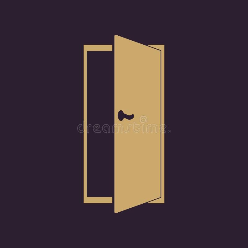 El icono de la puerta Salga y abra una sesión el símbolo plano ilustración del vector