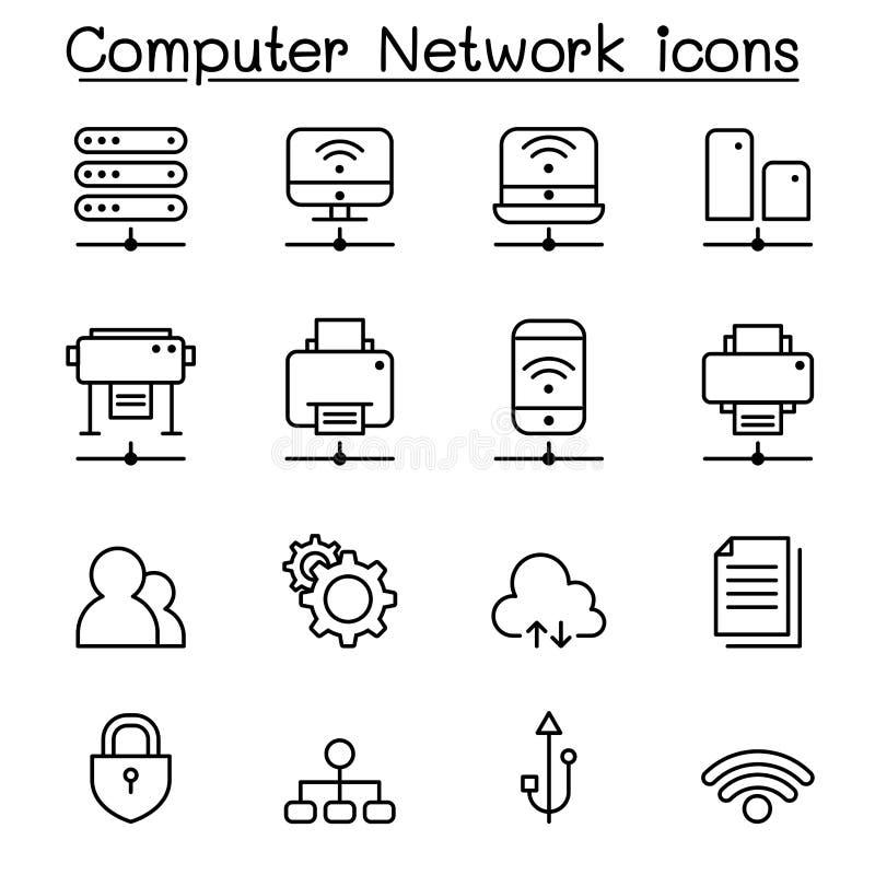 El icono de la red de ordenadores fijó en la línea estilo fina stock de ilustración