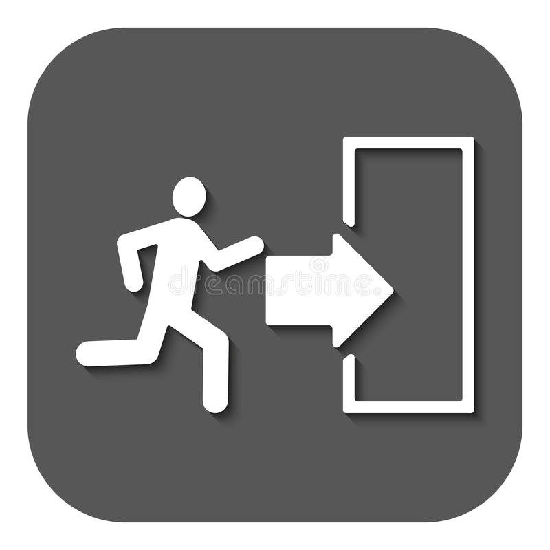 El icono de la salida Símbolo de la salida de emergencia plano ilustración del vector