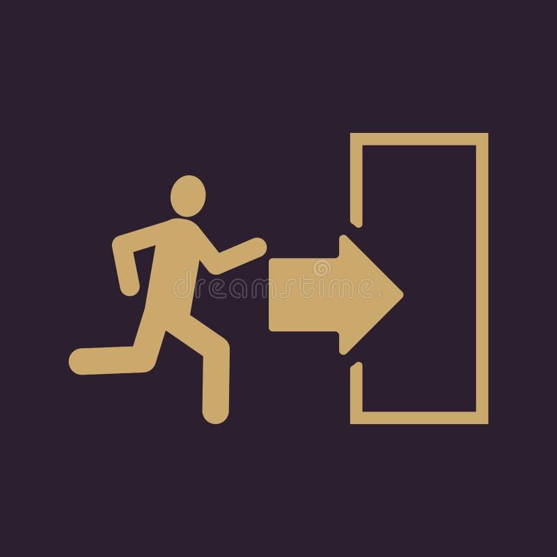 El icono de la salida Símbolo de la salida de emergencia plano libre illustration