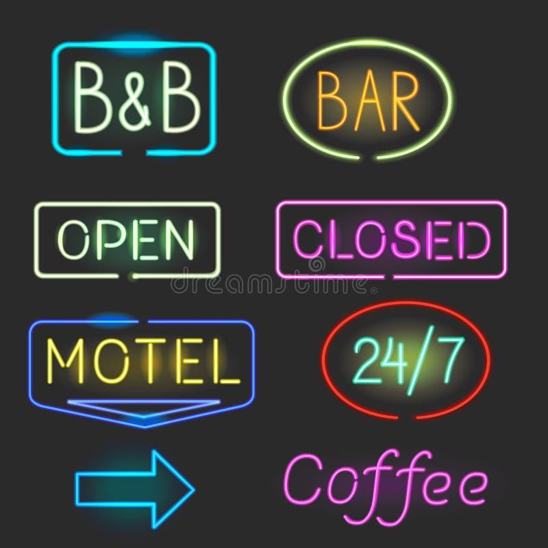 El icono de la señal de neón fijó con la luz de destello para el motel, barra Muestra abierta, cerrada ilustración del vector