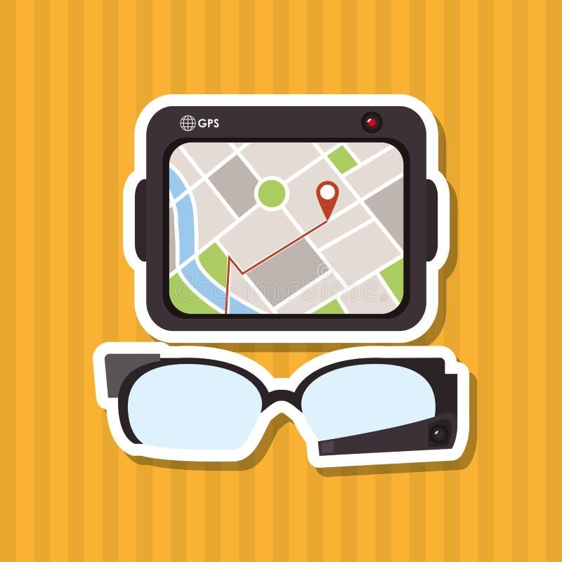 El icono de la tableta y del viaje diseña, vector el ejemplo stock de ilustración