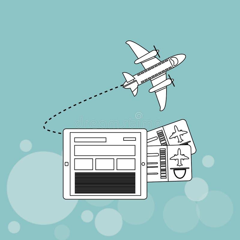 El icono de la tableta y del viaje diseña, vector el ejemplo libre illustration