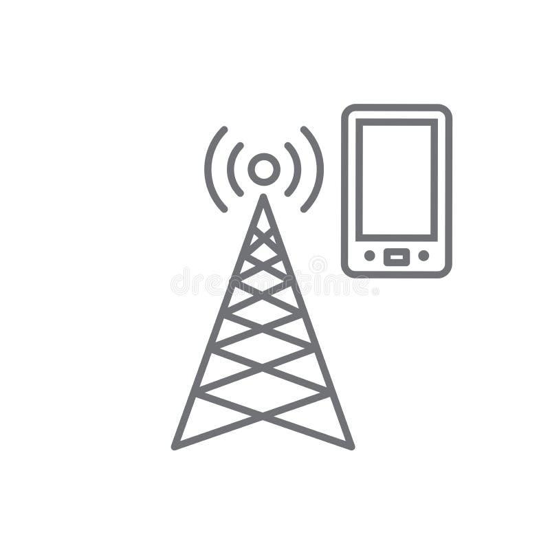 El icono de la torre del teléfono móvil con la emisión de la transmisión que silba como una bala agita stock de ilustración