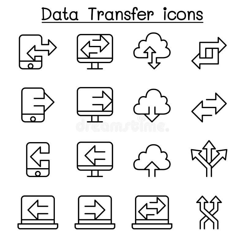 El icono de la transferencia de datos del ordenador fijó en la línea estilo fina libre illustration