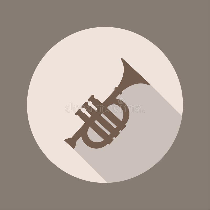 El icono de la trompeta, diseño plano ilustración del vector