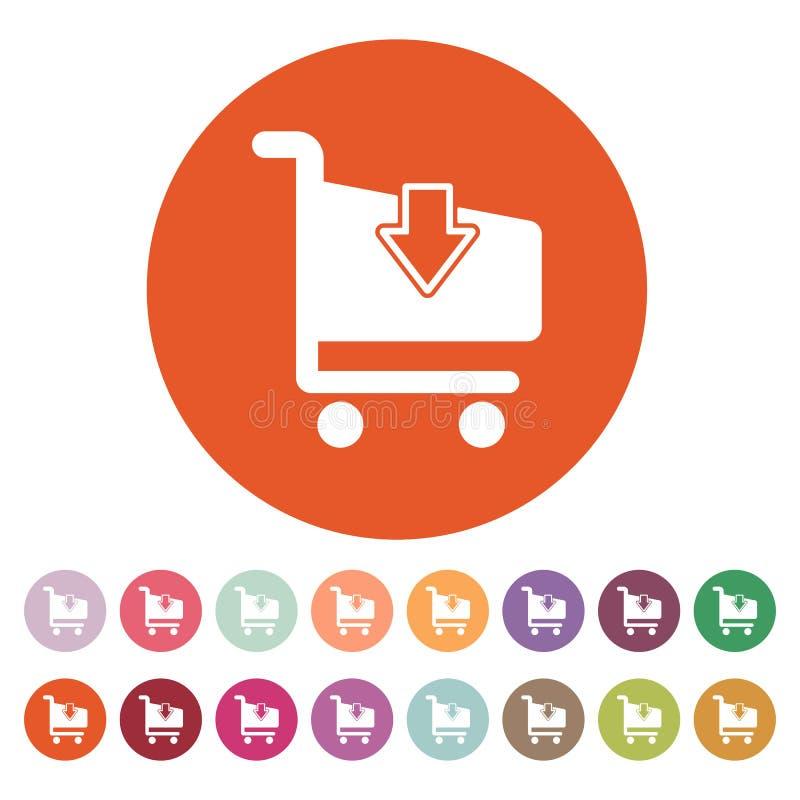 El icono de las compras del carro Símbolo del carro de la tienda plano ilustración del vector