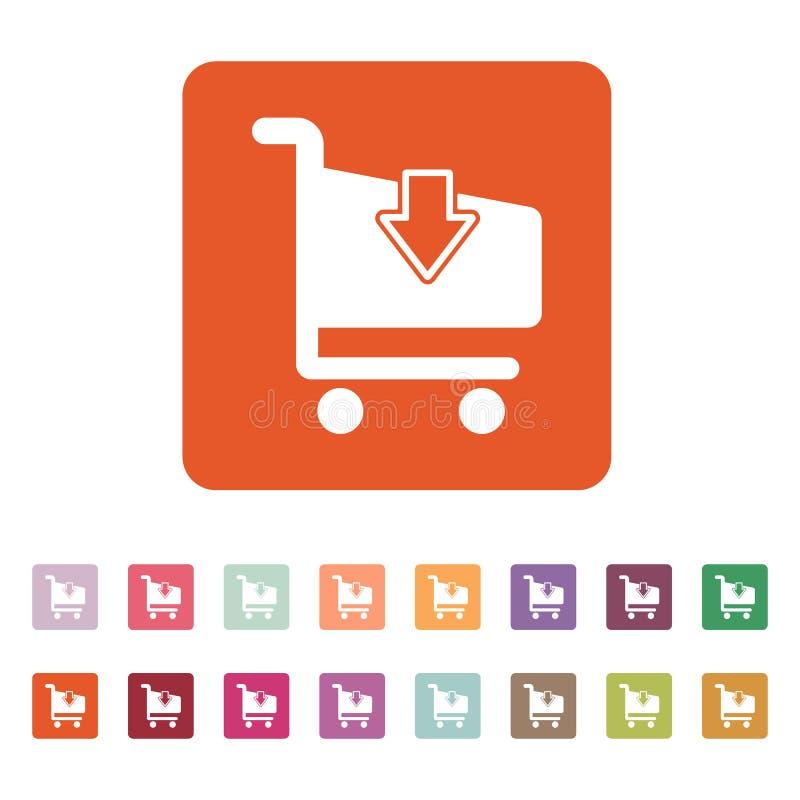 El icono de las compras del carro Símbolo del carro de la tienda plano libre illustration