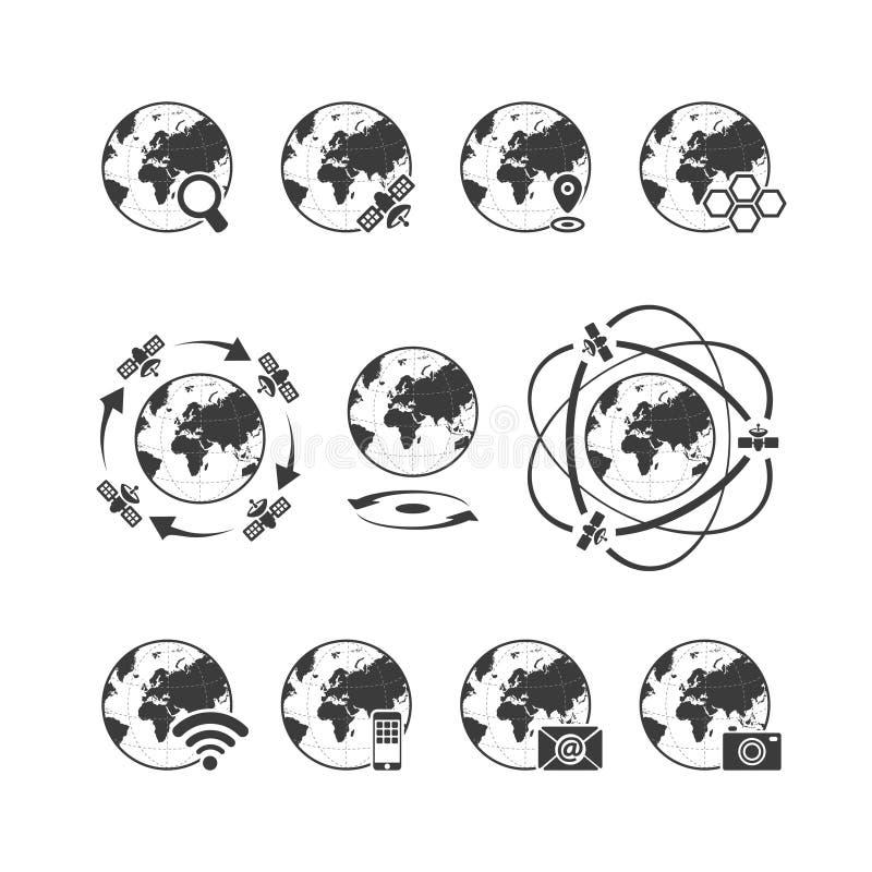 El icono de las comunicaciones globales fijó con tierra del globo en el fondo blanco ilustración del vector