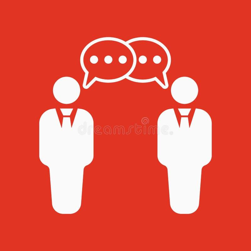 El icono de las negociaciones Discusión y diálogo, discusión, símbolo de las conversaciones plano stock de ilustración