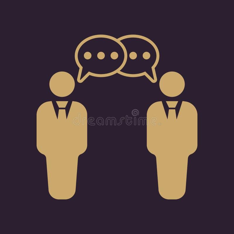 El icono de las negociaciones Discusión y diálogo, discusión, símbolo de las conversaciones plano ilustración del vector