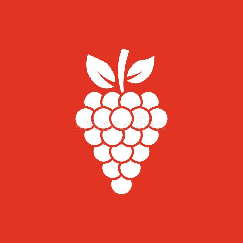 El icono de las uvas Uva, uvas, símbolo del vino Ui web LOGOTIPO muestra Diseño plano app existencias stock de ilustración