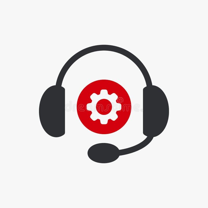 El icono de los auriculares, icono de la tecnología con los ajustes firma El icono de los auriculares y modifica, puso, maneja, p stock de ilustración