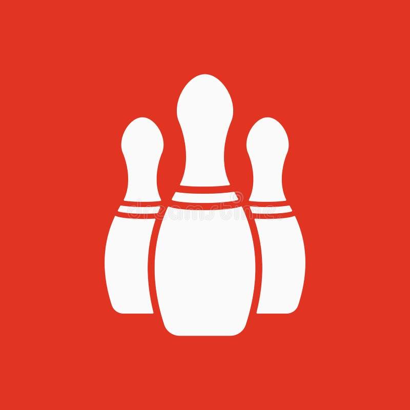 El icono de los bolos Símbolo del juego plano stock de ilustración