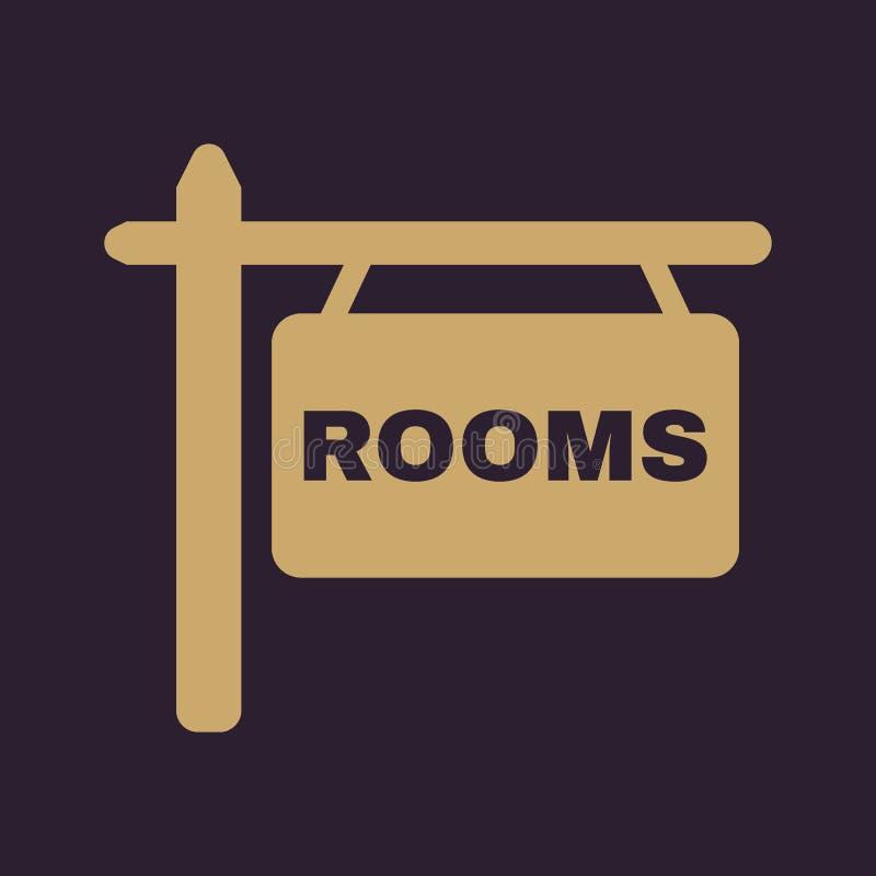 El icono de los cuartos Símbolo del hotel plano stock de ilustración