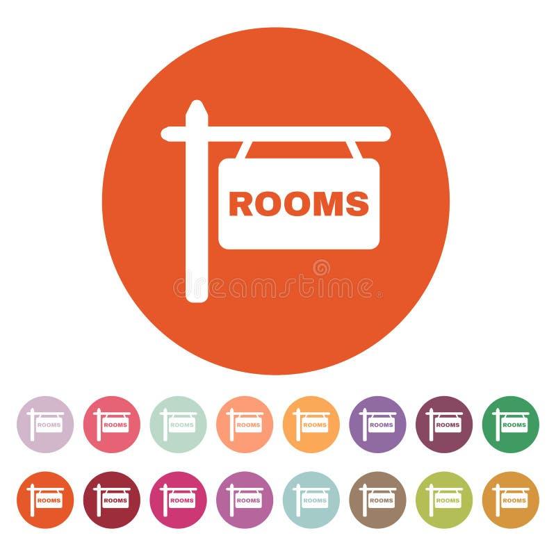 El icono de los cuartos Símbolo del hotel plano ilustración del vector