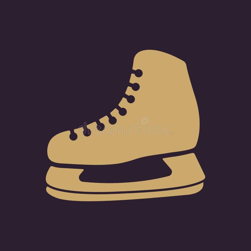El icono de los patines El hockey patina símbolo plano stock de ilustración