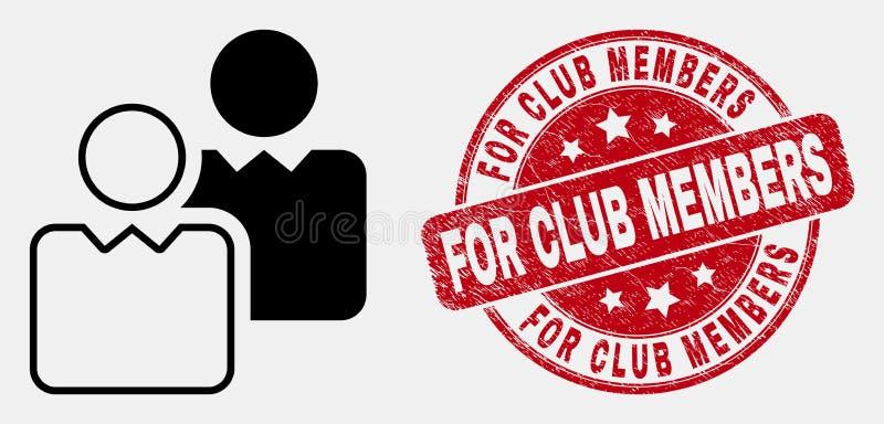 El icono de los usuarios del contorno del vector y apenar para los miembros de club sella el sello libre illustration