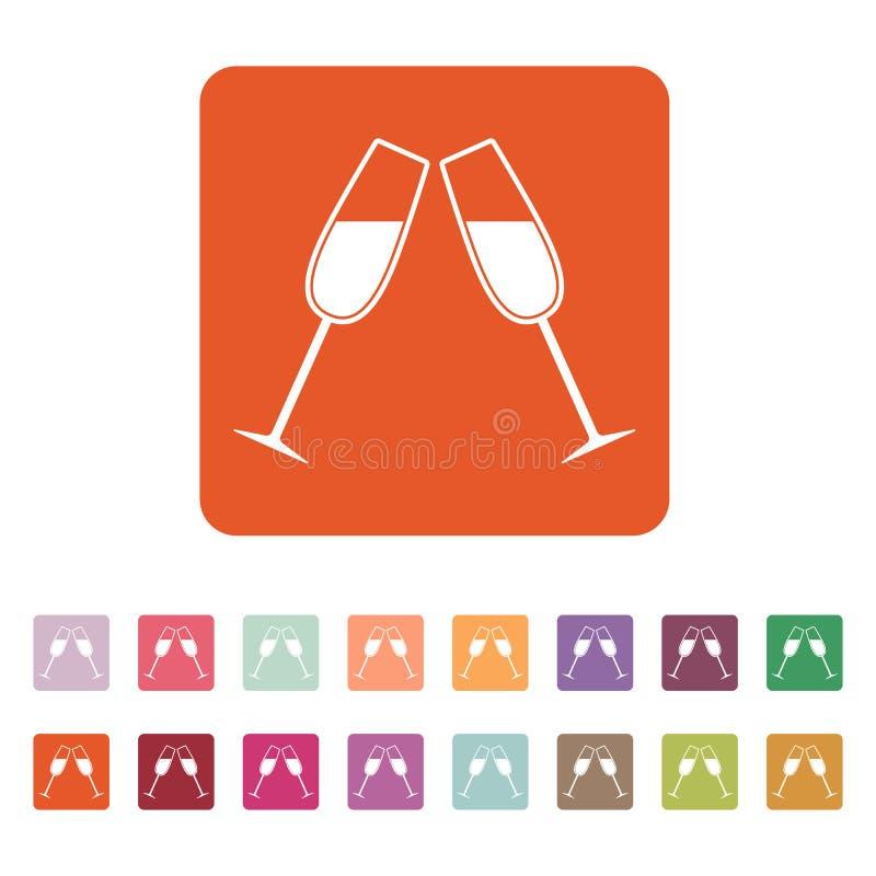 El icono de los vidrios del tintineo Copa y cubilete, símbolo de la celebración plano stock de ilustración