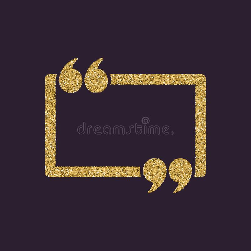 El icono de Mark Speech Bubble de la cita Citas, citación, símbolo de la opinión Chispas y brillo del oro ilustración del vector