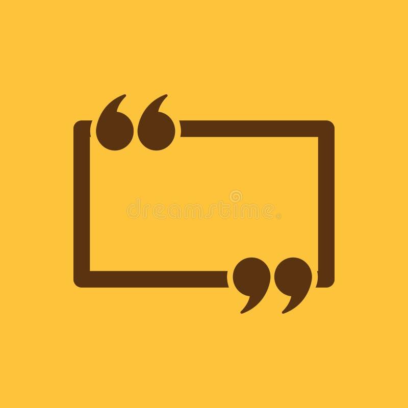 El icono de Mark Speech Bubble de la cita Citas, citación, símbolo de la opinión plano stock de ilustración