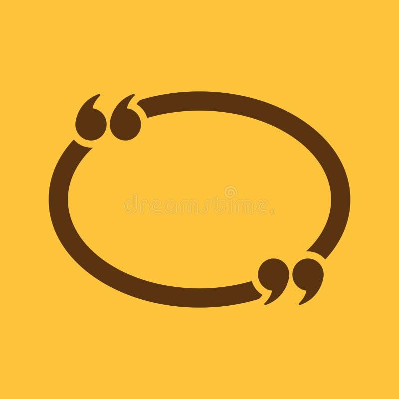 El icono de Mark Speech Bubble de la cita Citas, citación, símbolo de la opinión plano libre illustration