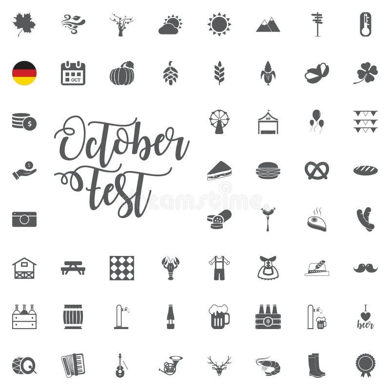 El icono de Oktoberfest fijó con la salchicha, el pretzel, la cerveza, el sombrero, y el acordeón Vector el ejemplo en estilo de  libre illustration
