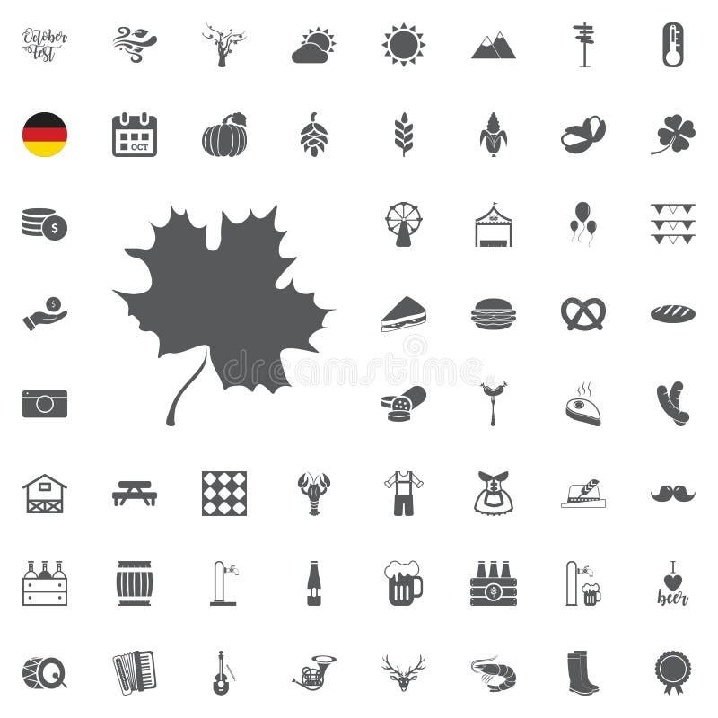 El icono de Oktoberfest fijó con la salchicha, el pretzel, la cerveza, el sombrero, y el acordeón Vector el ejemplo en estilo de  stock de ilustración