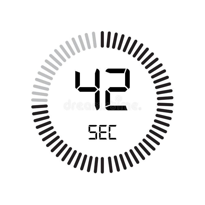 El icono de 42 segundos, contador de tiempo digital reloj y reloj, contador de tiempo, coun ilustración del vector