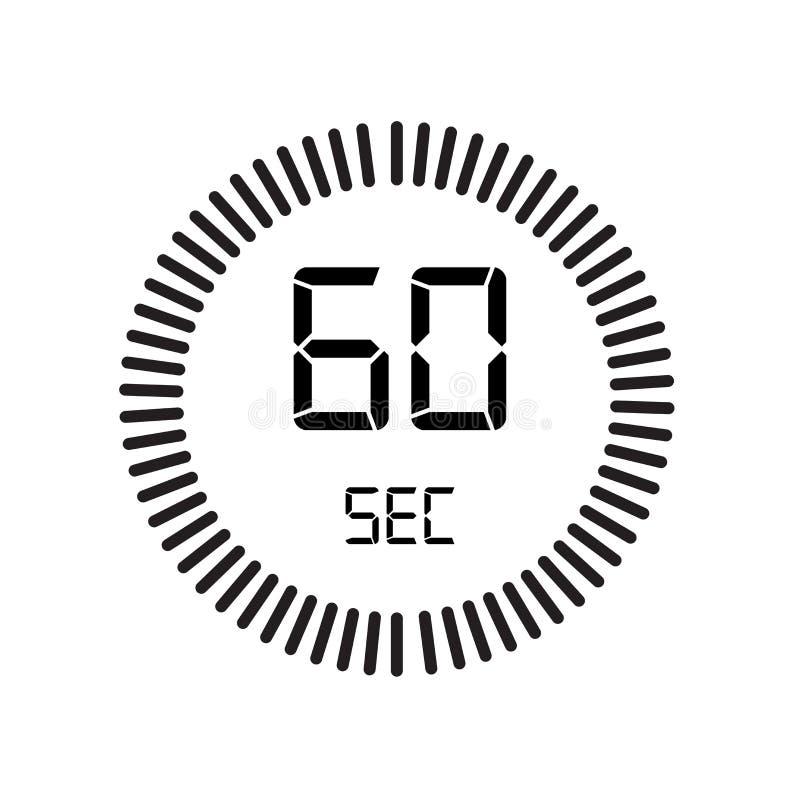 El icono de 60 segundos, contador de tiempo digital reloj y reloj, contador de tiempo, coun ilustración del vector
