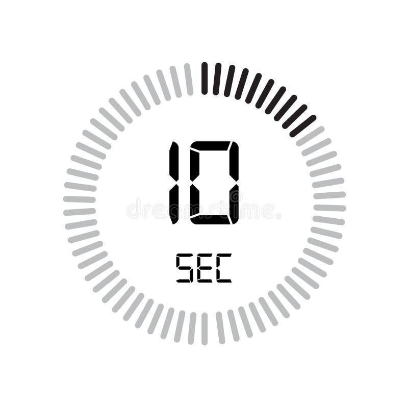 El icono de 10 segundos, contador de tiempo digital reloj y reloj, contador de tiempo, coun stock de ilustración